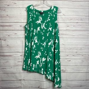 Alfani green sleeveless blouse asymmetrical hem